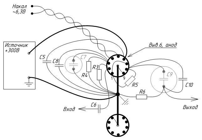 Монтажная схема лампового